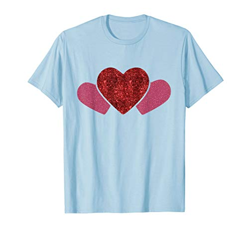 - Hearts T-Shirt for Valentines Day Sparkling Pink Girls Gifts