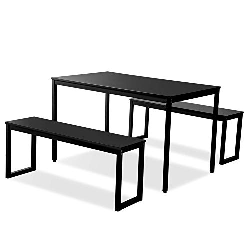 ALI VIRGO 3-Piece Modern Soho Dining Set Kitchen Tables with Two Benches, Contemporary Home Furniture, Steel Frame, ((Black) (Set Piece 6 Dining)