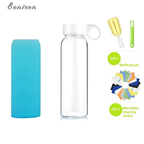 (Limited Time Promotion) Bonison Durable Glass Water Bottle with Soft Colorful Silicone Sleeve Handle Lid 9 Oz