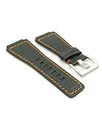 DASSARI Primo Black w/ Orange Stitching Crocodile Leather Watch Band for Bell & Ross size 24mm