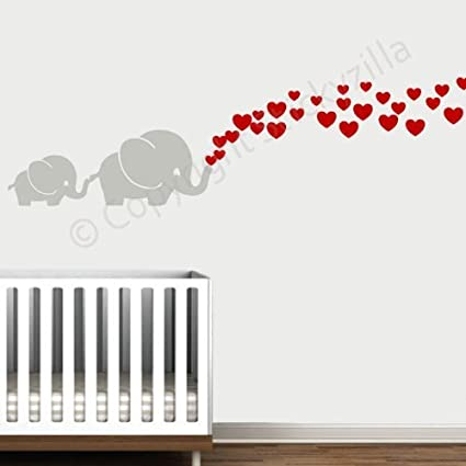 Cutie Grey Elephants with Colored Bubble Hearts Vinyl Wall Decal Sticker Baby Play Room Decal the Walls Nursery Red Hearts