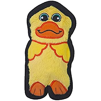 Invincibles Minis Stuffingless Durable Tough Plush Dog Squeaky Toy by Outward Hound, 1 Squeaker, Duck