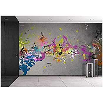 wall26 - Musical Grunge with Spray Background - Removable Wall Mural | Self-Adhesive Large Wallpaper - 100x144 inches
