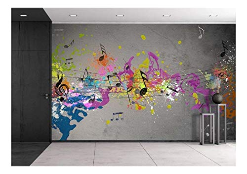 Musical Mural - wall26 - Musical Grunge with Spray Background - Removable Wall Mural | Self-Adhesive Large Wallpaper - 100x144 inches