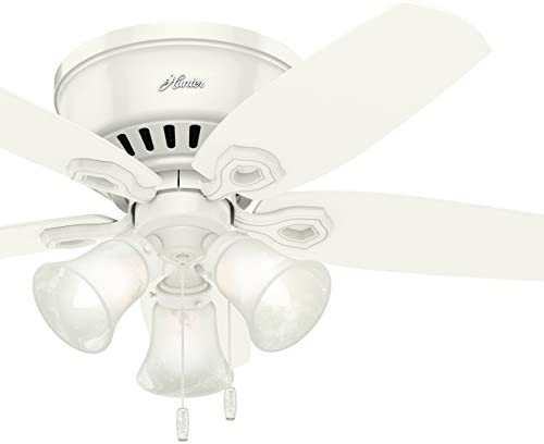 Hunter 42in Flush Mount Traditional Ceiling Fan with Snow White Swirled Marble Three-Light Fitter Renewed