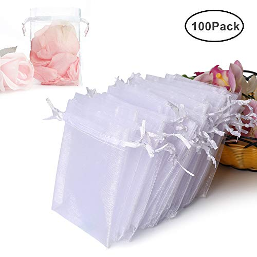 Weddings Organza - Hopttreely 100PCS Premium Sheer Organza Bags, White Wedding Favor Bags Drawstring, 4x4.72 Jewelry Gift Bags Party, Jewelry, Festival, Bathroom Soaps, Makeup Organza Favor Bags