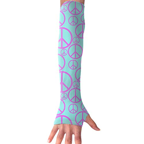 QG ZZX Peace Sign Pattern Unisex Compression Arm Sleeves UV Protection Performance Arm Sleeve - for Outdoor Sports Baseball,Basketball,Football (1 - Ball Uv Peace Sign