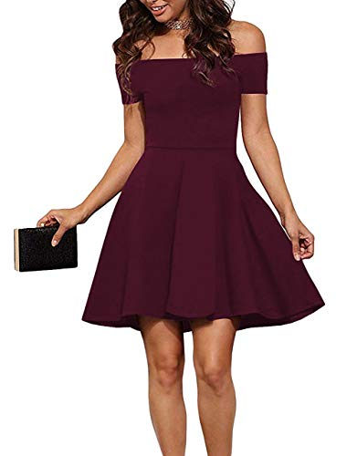 Sarin Mathews Womens Off The Shoulder Dress Short Sleeve Sexy Homecoming Summer Cocktail Party Skater Dresses Burgundy S
