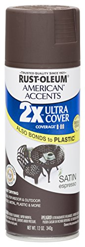 Rust Oleum 280707 American Accents Ultra Cover 2X Spray Paint, Satin Espresso, 12-Ounce