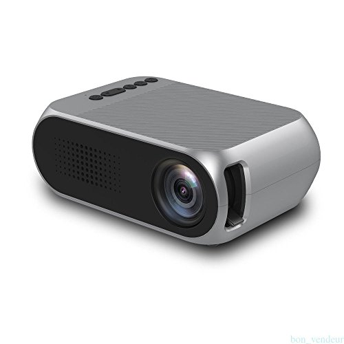 Portable Video Projector,Fosa YG320 LCD Mini Projector Support HD 1080P Max 1920x1080p Resolution Multimedia Home Theater Cinema Projector Great for Party /Game/TV Show/Camping (Silver)