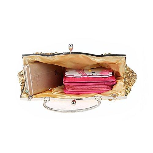 Flada Vintage hecho a mano de cuentas de flores noche bolso de embrague para las mujeres bolso de la boda Oro