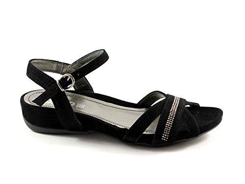 IGI & CO 38502 negro sandalias de gamuza zapatos de las mujeres de cuero del rhinestone Nero