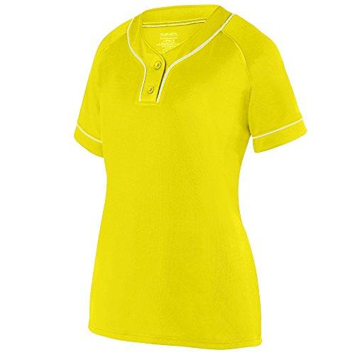 Augusta Sportswear Girls Overpower Two-Button Jersey L Power Yellow/White