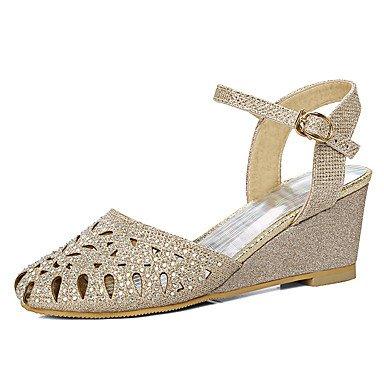 LvYuan Mujer-Tacón Cuña-Zapatos del club-Sandalias-Boda Vestido Fiesta y Noche-Materiales Personalizados-Plata Oro Gold