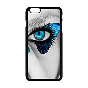 Personalized Clear Phone Case For iPhone 6 Plus,attractive blue butterfly eyes