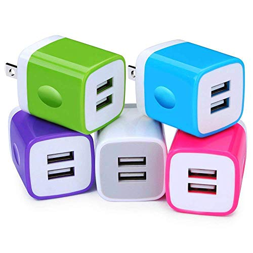 USB Charger, 10W USB Power Adapters 2.1A Fast Dual Port Travel Mobile Phone AC Adapter Portable Block Plug Compatible with Phone XS MAX/XR/X/8/7/Plus/6S/6/SE/5S/5C/Tablet(5 Pack)