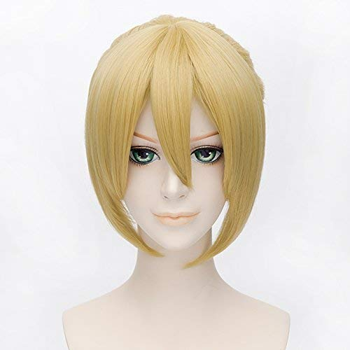 PLUSKER 35cm/13.8inch Short Golden Blonde Straight Wig