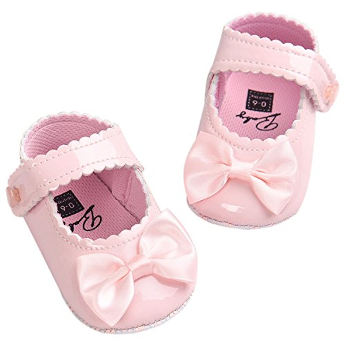 Fire Frog Baby Girls Mary Jane Pu Leather Bowknot Pincess Prewalker Christening Baptism Crib Shoes -