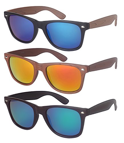 Edge I-Wear 3-Pack Horn Rimmed Wood Pattern Sunglasses Mirrored Lens - 3 Sunglasses Pack