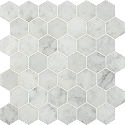 Carrara White Hexagon 12 In. X 10 mm Polished Marble Mesh-Mounted Mosaic Floor & Wall Tile, (10 sq. ft., 10 pieces per case)