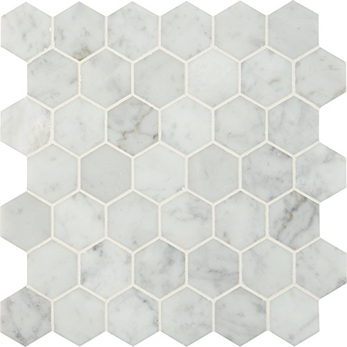 M S International Carrara White Hexagon 12 In. X 10 mm Polished Marble Mesh-Mounted Mosaic Floor & Wall Tile, (10 sq. ft., 10 pieces per (Polished Floor Tiles)