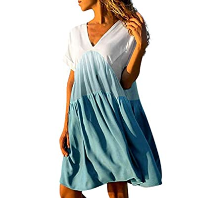 iNoDoZ Women's Casual Patchwork Gradient Color V-Neck Short Sleeve Ruffled Loose Dress