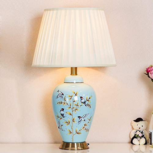 (Simple American Bedside Lamp, (13 × 21.6 Inches) Hand-Painted Tweed Ceramic Lamp Individual Bedroom Study Living Room Lighting)