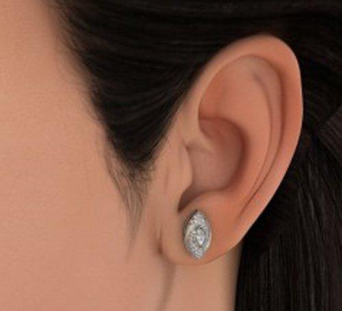 18K Or Blanc 0,42CT TW Round-cut-diamond (IJ | SI) Boucles d'oreille à tige