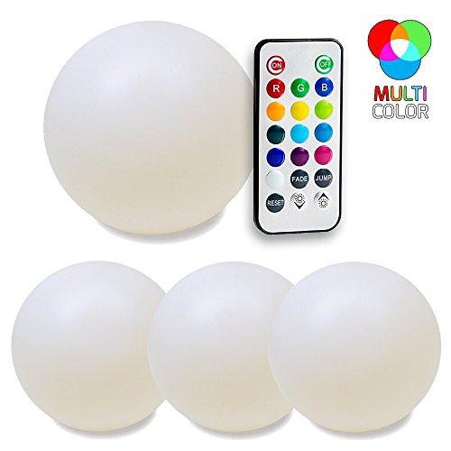 SkaizeTM Farbwechsel LED Leuchtkugeln mit Fernbedienung - Wasserdichte Schwimmkugeln für Garten und Teich - 4er Set