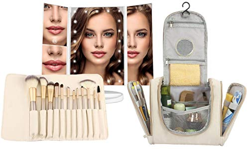 Makeup Brush Set, Hanging Toiletry Bag Travel Case and Trifold Cosmetic Vanity Mirror With 21 LED Lights – #1 Beauty Gift Set for Women Girlfriend Mom Gift Basket – Holiday Special