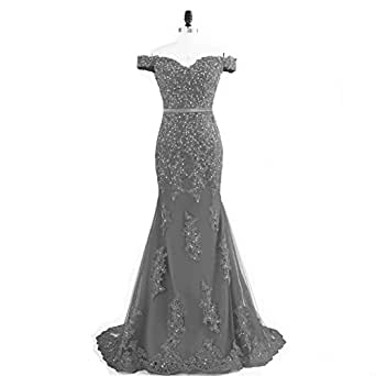 Pettus Women's Off The Shoulder Lace Wedding Party Dress Mermaid Prom Dress Long