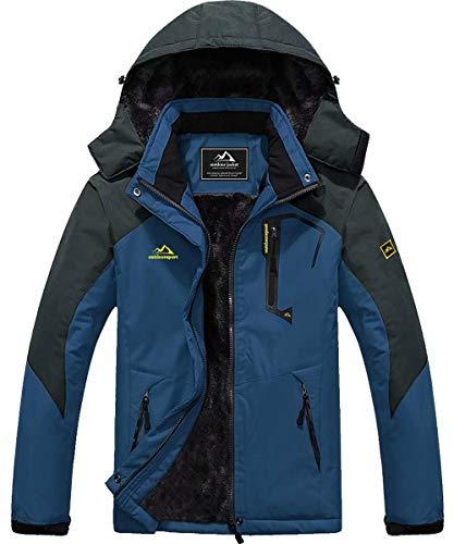 MAGCOMSEN Parka Jacket Men Waterproof Jaket Fleece Snowboard Jacket Soft Shell Jackets Winter Coats for Men Denim Blue
