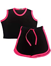 Kids Girls Shorts Set 100% Cotton Contrast Taped Summer Top & Hot Short 5-13 Yrs