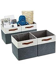 "DECOMOMO Foldable Storage Bin [4-Pack] Collapsible Sturdy Cationic Fabric Storage Basket Cube W/Handles for Organizing Shelf Nursery Home Closet (Slate Grey & White, 13"" 4/Pack)"