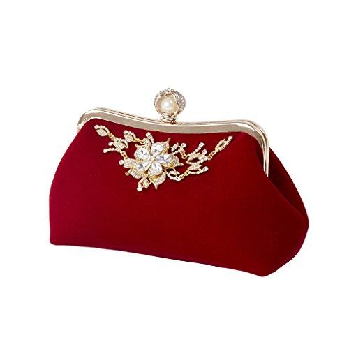 Handbag Red Clutch Lady Handbag Evening Style Wallet Purse Elegant Peacock Numkuda Prom Bridal 7f6T8EEwq