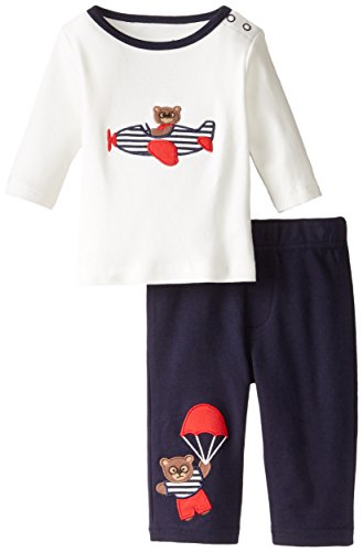 Hartstrings Baby-Boys Newborn Flying Bear Applique Top and Pant Set, Marshmallow, 0-3 Months