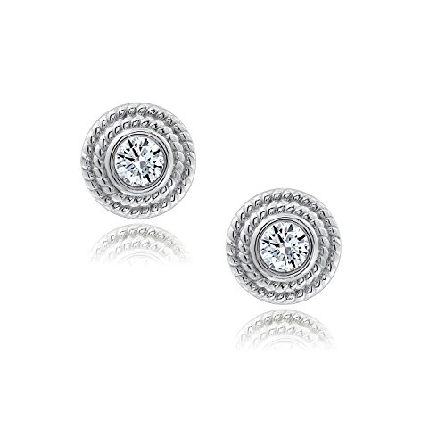 (DIAMONBLISS Sterling Silver or 14K Gold Clad Cubic Zirconia Twisted Stud Earrings)