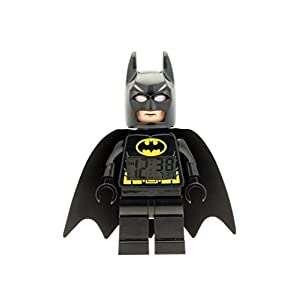 LEGO Despertador Infantil con Figurita de Batman de Batman PELÍCULA 9005718|Negro/Amarillo|Plástico|24 cm de Altura|Pantalla LCD|Chico Chica|Oficial 1