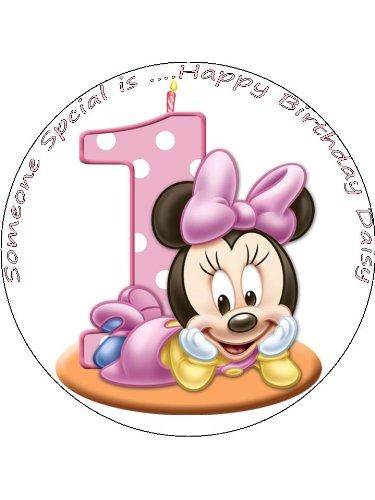 Molde para decorar pasteles, diseño de Minnie Mouse el texto en inglés para 1st cumpleaños, aproximadamente 19 cm: Amazon.es: Alimentación y bebidas