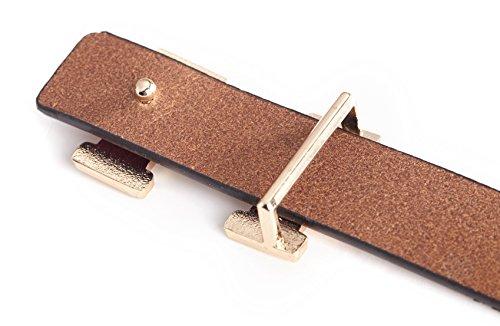 Fashion H-Style Slim Belt for Women Lady [2.5cm Belt Width] (Brown, 95cm (Waist 27''~33'' or Below)) by Amone Ling (Image #5)