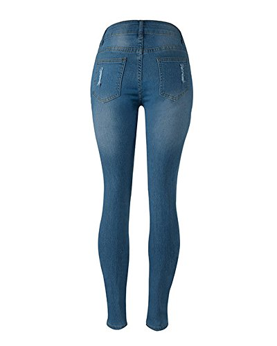 Jeans Bleu Slim Leggings Printemps Haute Dchirs Denim Crayon Femme Taille Collant R6qv4wnEP