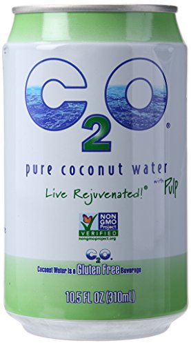 C2O Pure Coconut Water, With Pulp, 10.5 Fluid Ounce (Pack of 24)