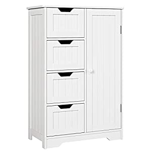 picture of HOMFA Bathroom Floor Cabinet, Wooden Side Storage Organizer Cabinet with 4 Drawer and 1 Cupboard, Freestanding Unit for Better Homes and Gardens Office, Ivory White