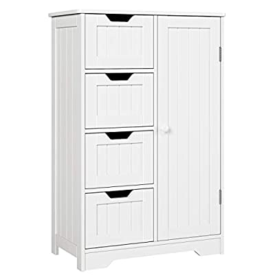 HOMFA Bathroom Floor Cabinet, Wooden Side Storage Organizer Cabinet with 4 Drawer and 1 Cupboard, Freestanding Unit for Better Homes and Gardens Office, White - 【SAFE AND BEAUTIFUL】Please see the product size before buying, thank you. Cabinet size: 22*11.8*32.3 inch(56*30*82cm). The floor cabinet is created by durable natural fiberboards for long-term use, environmentally friendly paint to secure no harm to your family. The finish is Ivory white and design is the newest, elegant and beautiful. 【MULTIPURPOSE】The floor cabinet storage with four drawers and a big cupboard. You can put in clothes, books in the drawers, bigger and higher things such as kitchen sets, wine in the cupboard . You can choose it for the bedroom, bathroom, kitchen, and other occasions. 【CONVENIENT AND LARGE SPACE】The drawers and cupboard have reasonable design, you can easily open and close them. The storage space is large. Also, you could also place it at the top of this unit. - shelves-cabinets, bathroom-fixtures-hardware, bathroom - 41eZCX97t0L. SS400  -