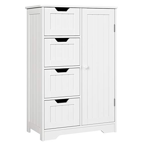 HOMFA Bathroom Floor Cabinet, Wooden Side Storage Organizer Cabinet with 4 Drawer and 1 Cupboard, Free Standing Unit for Better Homes and Gardens Office Furniture, White