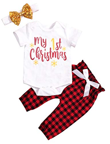 Baby Girl Clothes First Christmas Outfit Set Short Sleeve My 1st Christmas Top Plaid Pants with Headband 3Pcs Clothes 9-12 Months - Clothes First Christmas