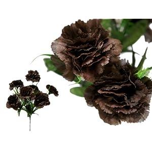 Efavormart 84 Large Artificial Carnations Flowers for DIY Wedding Bouquet Centerpiece Home Decoration - 12 Bushes - Chocolate Brown 61