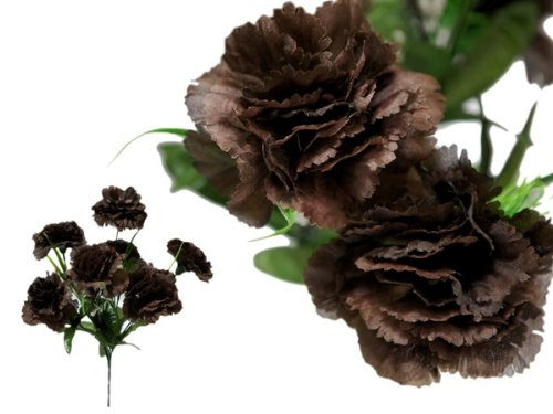 - BalsaCircle 84 Chocolate Brown Large Silk Carnations Flowers - 12 Bushes - Artificial Flowers Wedding Party Centerpieces Bouquets Supplies