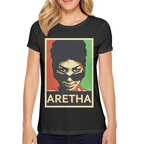 Aretha Franklin Tshirt Women Short Sleeve Black Lament Aretha Franklin's Death