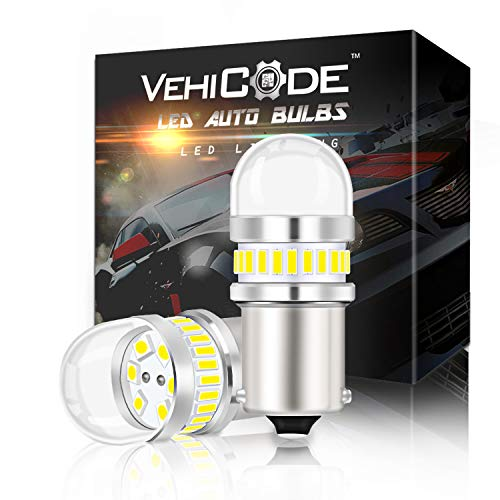 VehiCode Super Bright 950 Lumens 7507 LED Light Bulb (6000K Daylight White) Kit - PY21W 1056 5009 BAU15S Single Contact Replacement for Car Reverse Backup DRL, Daytime Running, Parking Lamp ()